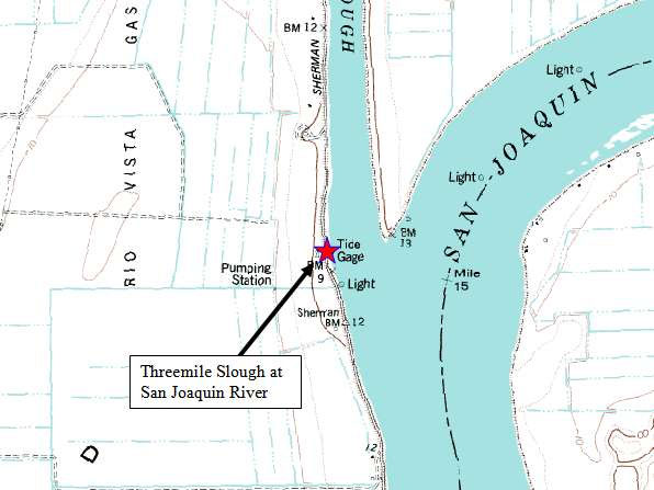 Map of Threemile Slough Entrance, San Joaquin River, Calif