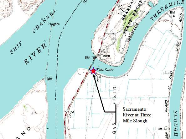 Map of Threemile Slough, Sacramento River, California